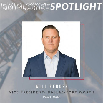 Photo by Rogers-O'Brien Construction in Dallas, Texas. Image may contain: 1 person, text that says 'EMPLOYEES SPOTLIGHT WILL PENDER VICE PRESIDENT- DA